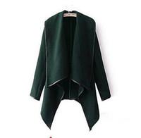 chaqueta de marcas preppy al por mayor-2019 Ropa de otoño invierno para mujer Nuevos abrigos de lana europeos y americanos Abrigos Damas Personalidad Reglas asimétricas Abrigos cortos de chaqueta
