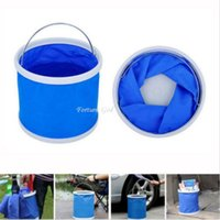 0 inch 11L Folding water bucket 0 inch Wholesale- Blue Fishing Boating Camping Car Wash Clean Portable 9L-11L Folding Water Bucket