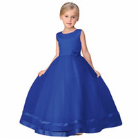 Wholesale Korean Wedding Dress Ankle Length - Children's dress flower girl skirt female wedding party dress princess Korean version solid color belt flower dress Baby Kids Clothing 1722