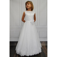 Wholesale Green Derss - 2017 NEW Cheap Party Flower-Girl-Dress-girls-Cheap-Lace-communion-Satin-Derss-Sashes-Little-Kids-Gowns-Wedding-Girls-Pageant