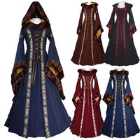 Wholesale Brown Renaissance Dress - Renaissance Medieval Cotton Costume Pirate Boho Peasant Wench Victorian Dress Women Vintage Hooded Dress Gothic Dress