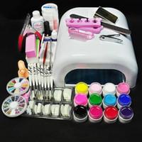 Wholesale Pro Nails Gel - White Lamp & 12 Color UV Gel Nail New Pro 36W UV GEL Nail Art Tools Sets Kits