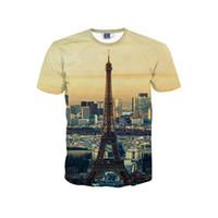 Wholesale Eiffel Tower T Shirt Men - Good A++ Clothing T-shirt 3D large-size leisure T-shirt Eiffel Tower Men's T-Shirts MT066