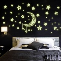 Wholesale Luminous Wall Stickers For Children - Y0015 Moon Star Fluorescence Decals Noctilucent Night Glow in Dark Luminous Vinyl Removable Nursery Kids Child Bedroom Wall Stickers