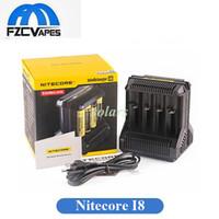 mejor cargador vape al por mayor-Original Nitecore I8 8 Ranuras Inteligente Cargador de batería El mejor cargador de Vape para 18650 26650 14500 Batería libre de DHL
