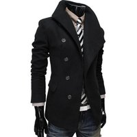 Wholesale Winter Trenchcoat - Wholesale- Wool & Blends Men Fashion Winter Warm Trench Coat Large Single-breasted Lapel Placket Male Trenchcoat Outerwear Thermal Parka