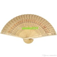 Wholesale Cheap Wood Carvings - Free Shipping 400pcs lot cheap chinese carved folding fragrance wood hand fans Hot Selling via DHL Fedex UPS