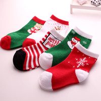 Wholesale 12 Pairs Christmas Socks - Unisex Kids Baby Boy's Girl's Terry Warm Non-Slip Cuff Christmas Socks 2pieces=1 pair