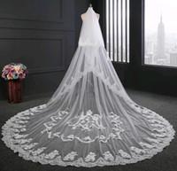 imagem do véu real venda por atacado-Venda quente véu para a noiva imagem real 3.5 m comprimento 3 m de largura branco marfim borda do laço Applique acessórios de casamento véus de noiva