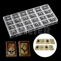 Wholesale Play Grade - Playing Cards Shaped Clear Chocolate Mold Food Grade Polycarbonate Chocolate Mold DIY kitchen cooking Jelly Pudding Candy Mould