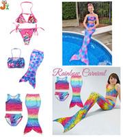 Wholesale Summer Kids Bikini - Baby clothe kids clothe 2017 Summer new Kids swimwear Mermaid tail Swimsuit Girls cartoon pink Bikini Sets mermaid swimsuit baby swimsuits