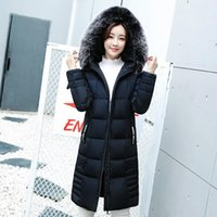 Wholesale Down Coat Ladies Pattern - Women Brand Winter Down Jackets Big Fur Collar Warm Hooded Coats Ladies Thicken Cotton Padded Parka Casual Slim Long Outerwear