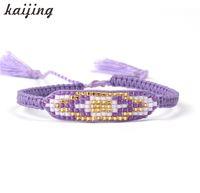 Wholesale Seed Beaded Bracelets - Wholesale- KaIJING Hot Sell Attractive Purple Seed Beaded Charm Bracelets For Women Handmade Double Tassel Beads Friendship Bracelet