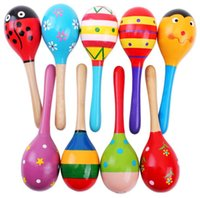 Wholesale Maracas Color - Wholesale- 1pc Colorful Wooden Maracas Baby Child Musical Instrument Rattle Shaker Party Toy Random Delivery Color Send By Random