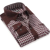 Wholesale Yellow Plaid Shirts For Men - Wholesale- New Arrival Autumn 2016 Men's Plaid Checked Patchwork Casual Shirts with Pocket Long Sleeve Regular-Fit Midweight Shirt For Men