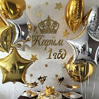 Wholesale Inflatables Stars Decorations - 10pcs lot Gold Silver Balloon star Wedding aluminum Foil Balloons Inflatable gift Birthday baloon Party Decoration Helium Ball