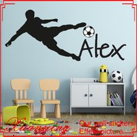 Wholesale Modern Abstract Wall Art Green - Football Soccer Ball Personalized Name Vinyl Wall Decal Sticker Art Children Wall Sticker Kids Room Decor Home Decoration