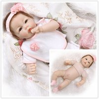 Wholesale Silicon Baby Dolls - New Arrival Soft 20 inch Half Silicon PP Cotton Reborn Newborn Lifelike Baby Dolls Unisex Kids Playing Sleeping Toys Birthyday Gifts