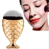 Wholesale Wholesale Hats Makeup - Mermaid oval brushes Mermaid Foundation Brush Gold Mermaid Makeup Brushes Set Beauty Cosmetics Blush Powder 5 colors with hat protecter