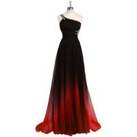 Wholesale Empire Waist One Shoulder Dress - 2017 Gradiant Color Evening Dresses One shoulder Empire Waist Chiffon Black Burdundy Designer Long Prom Formal Pageant Dress