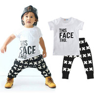 Wholesale clothes style trousers - Boys Casual Clothing Sets Baby Letters Cross Pattern Fashion Suits Infant Outfits Kids Tops & Trousers 1-5T LG2017