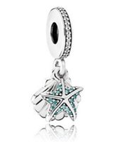Wholesale Pandora Sea - 2017 summer authentic silver bead Fits for pandora bracelets Original 100% 925 sterling silver Tropical Starfish & Sea Shell Hanging Charm