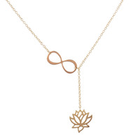 Wholesale Wholesale Lotus Flower Jewelry - Wholesale-2016 New Fashion Infinity Lotus Lariat Necklace Bridesmaid Gifts Flower Wedding Bridal Jewelry Engagement Necklace N043