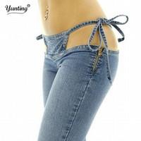 Wholesale Vintage Slim High Waist Pants - Wholesale- High Quality Promotion Women's Slim Ultra Waist Bikini Jeans Fashion Drawstring Trousers Comfortable Flares Pants Free Shipping