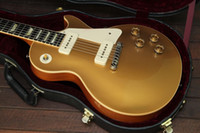 guitarra de embutir venda por atacado-Custom Shop 1956 Ouro Top Goldtop Guitarra Elétrica Especial Uma Vez Pedaço Tailpiece Dual P90 Pickups Trapézio Branco MOP Fingerboard Embutimento