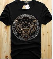 üst erkekler elmas tişörtler toptan satış-Toptan erkekler lüks elmas tasarım Tshirt moda t-shirt erkekler komik t shirt marka pamuk tops ve tees
