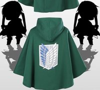 Wholesale Cosplay Anime Attack Titan - Anime Attack on Titan Cosplay Cloak Shingeki no Kyojin The Scouting Legion Eren Jaeger Dust Coat Cape Costumes