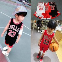 Wholesale Baby Vests Suits - 2017 Children's clothes baby boys girls set sleeveless crew neck infant children clothing vest in the summer basketball sport suit