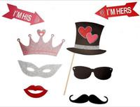 lustige photobooth requisiten groihandel-27 stücke Just Married Photo Booth Props Photobooth Hochzeit Bevorzugt Gläser Papier Karte Lustige Maske Party Dekoration