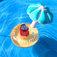Wholesale Inflatable Blue Swimming Pools - Inflatable Umbrella Drink Cup Holder Inflatable Floating Umbrella Toys for Party Swimming Pool Bath Holidays Beach Water Toy