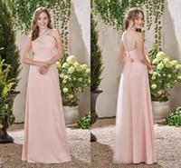 vestidos de damas de honor únicos al por mayor-Pink A Line Vestidos de dama de honor 2017 Simple largo fuera del hombro Vestidos de dama de honor Open Back Unique Design Wedding Guest Dresses