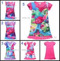 Wholesale poppy dress - 5 Style Girls Trolls Poppy Branch princess dress 2017 New Children trolls cartoon short sleeves Pajamas dresses Kids clothes B