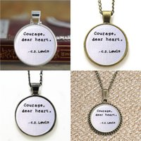 Wholesale Dear Necklace - 10pcs Courage Dear Heart C.S Lewis Narnia Quote Necklace keyring bookmark cufflink earring bracelet