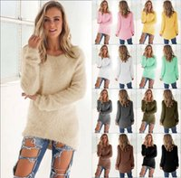 Wholesale Sweater Knit Fabrics - Women Wool Blend Fleece Fabric Sweaters Fashion Solid Color Long Sleeves Thin Wool Sweater Round Neck Jersey ZC2129