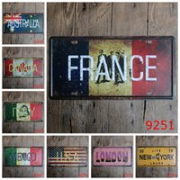 carve australia - Do Old License Plate X15 CM Iron Painting France Australia Metal Tin Signs Live New York Laugh Tin Posters Retro rjm
