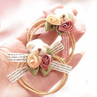 Wholesale Teddy Fabric Wholesale - 6pcs lot high quality fashion cute teddy bear double elastic band hair rope for women children kids silk flower bowknot