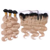 tonlar ombre saç 27 toptan satış-İki Ton 1B / 27 Bal Sarışın Ombre Bakire Brezilyalı İnsan Saç 3 Demetleri Ile Çilek Sarışın Ombre Vücut Dalga 13x4 Dantel Frontal