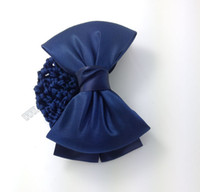 Wholesale Cover Buns - Simple Plain Bowknot Barrette Hair Clip with Snood Bun Net Bow Knot Snood Net Holder Hair Cover Accessories Dubaa