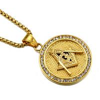 colares maçônicos homens venda por atacado-HIP Hop Cor De Ouro de Aço Inoxidável Titanium Iced Out Maçônica Livre Mason Maçonaria Pingentes Colares para Homens Jóias