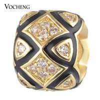 Wholesale Painted Beads Round - CZ Stone Beads Charms Copper Material DIY Jewelry Painted Design Gold and Platinum Plated Vn-1707