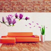 mural arts flor venda por atacado-Requintado Moda Magnolia Flores Removível Art Mural Vinil Home Room Decor Adesivos de Parede Pano de Fundo TV