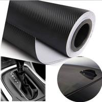 Wholesale Carbon Fibre Wrap Car - Wholesale- 300cmX55cm 3D carbon fiber vinyl film  carbon fibre sticker black white color option FREESHIPPING car sticker 3D carbon wrap