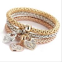 Wholesale Locking Love Bracelet Silver - 3pcs set Multilayer Hearts Keys Locks Bracelets for women & girls Crystal Love bracelets alloy charm bracelets sets Valentine Day gifts