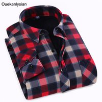 Wholesale- Winter New Plaid Shirts Hommes à manches longues Casual Slim Fit Flannel Wool Chemise chaude Social camisas para hombre Camisas Hombre Vestir