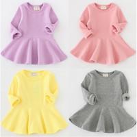Wholesale Korean Long Skirt Wholesale - Baby Dress Casual Long Sleeve Soft Korean Fashion Ruffle Children Clothing Princess Dresses Boutique Skirt For Winter Autumn