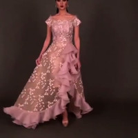Wholesale Organza Ruffle Split Front - 2017 Split Party Dresses A Line Cap Sleeves Lace Sheath Cocktail Dress with Sheer Organza Ruffled 3D Florals Lace Overskirt